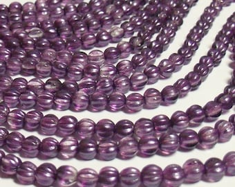 50 - Czech Glass 5mm Fluted Round Melon Beads - Bohemian Spacer Beads / Boho Accent Beads / Jewelry Supply - Satin Lavender (coated)