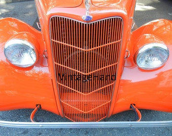 1935 Ford Digital download / Vintage convertible / retro / orange / Man Cave / Photograph / Art download / Home Decor