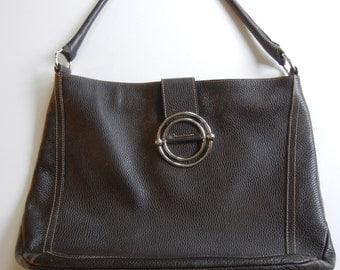 Furla purse / brown leather / leather tote / Designer Handbag / chocolate color / Leather purse / birthday / authentic