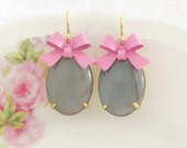 Gray Moonstone Pink Bow Earrings - Vintage Gray Glass Jewels with Pink Enamel Bow - Wedding, Bridal, Bridesmaid, Preppy