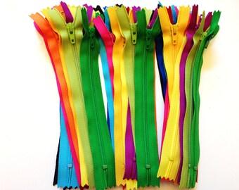 6 inch YKK zippers, brights, 36 pcs, black, royal blue, turquoise, aqua, red, hot pink, sunflower, orange, yellow, fuchsia, green dress zips