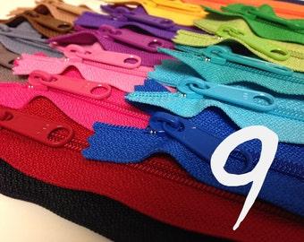 YKK handbag zippers, 9 inches, long pull, 21 zipper assortment, blue, red, green, yellow, pink, neutrals