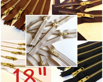 18 inch gold teeth zippers, Choose TEN pcs, black, brown, medium brown, beige, and white brass, metal YKK zippers