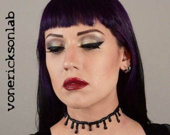 Gothic  Jewelry - All Black Thin Drip choker necklace Zombie blood