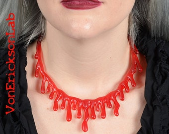 Blood  Drip  choker Necklace  - Low hanging  Extra Drippy- Bright  Red Blood