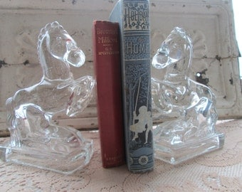 Vintage clear Glass Rearing Horse Book Ends Fostoria Glass