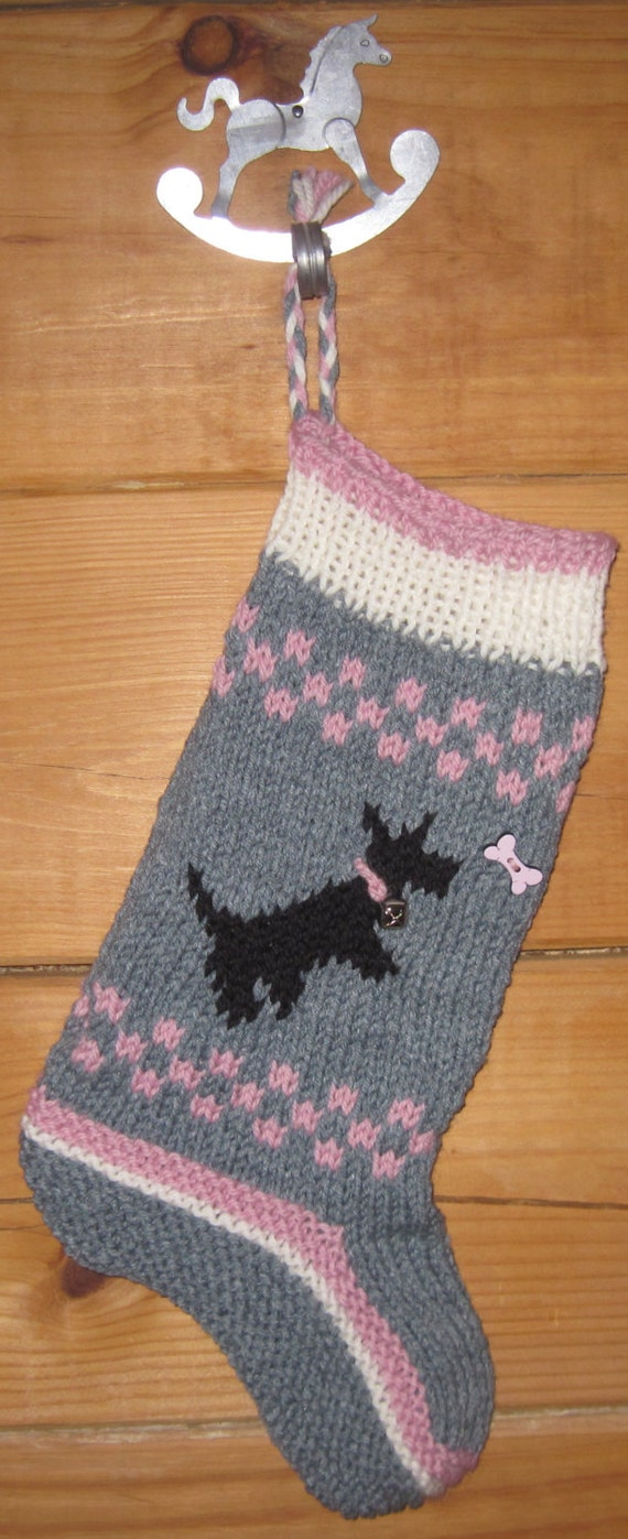 Sale Hand Knit Christmas Stocking Wool Black By