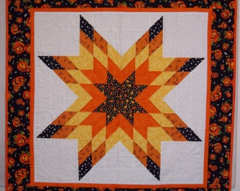 Jack O'Lantern Themed Star Quilted Wall Hanging