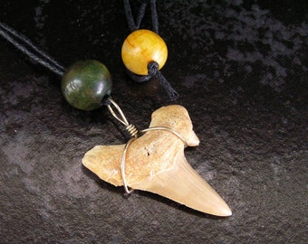 SALE! Fossil Shark Tooth Wirewrap Pendant Necklace with Jade Beads on Black Waxed-Cotton Cord