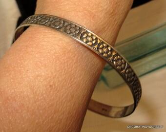 Flower Bangle Bracelet Sterling Silver