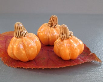 Miniature Orange Ceramic Pumpkin Trio Autumn Fall Halloween Thanksgiving Table Decoration
