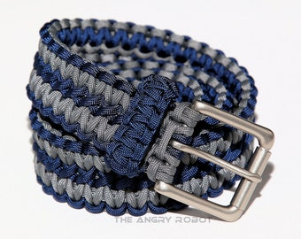Paracord Belt  Navy Blue and Grey - with Matte Nickle Buckle - XS S M L XL XXL