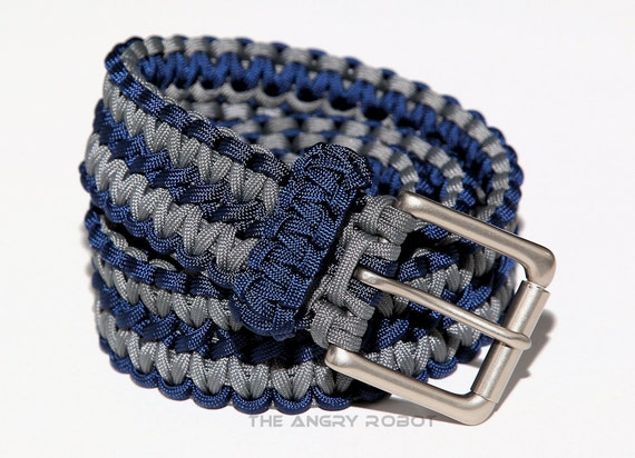 paracord belt navy blue and grey with matte nickle buckle