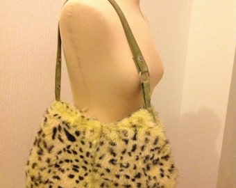 Rabbit Fur Handbag Satchel Clutch Purse Leopard Print Animal Print