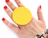 Ceramic Jewelry Cocktail Ring  - big ring, ceramic and pottery,  handmade boho cocktail ring -  SOLAR POWER - 2.4 inch