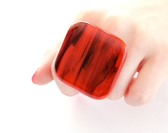 Big Glass Cocktail Ring  - bold oversize handmade, fused glass statement ring -  SMOKIN HOT - 1.8 inch