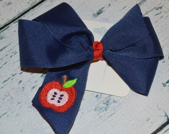 Embroidered Apple Hair Bow hairbow Ready To Ship