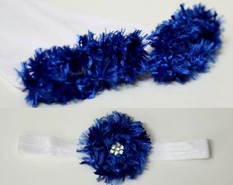 White and Blue Indianapolis Colts Duke Blue Devils Baby Leg Warmers and Headband Set