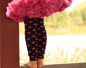 Black and Pink Hearts Valentine's Day Baby Toddler Leg Warmers
