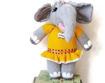 Stuffed Toy Girl Elephant- Knitted - OOAK Original - Custom Colors/ Custom Made
