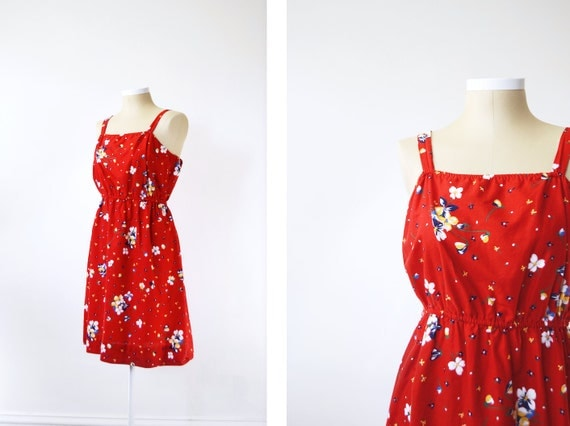 1970s Red Floral Sundress - L/XL