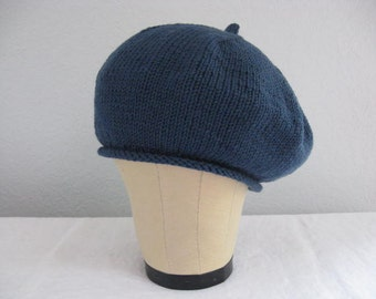 Blue Beret. Hand Knit Extra Fine Italian Merino Wool. Fall and Winter Accessories.