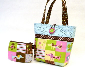 Cute Doxies Little Girls Purse Coin Purse Set Pastel Dachshund Dogs Fabric Mini Tote Bag Childs Purse Kids Bag Orchid Pink Lime Blue MTO