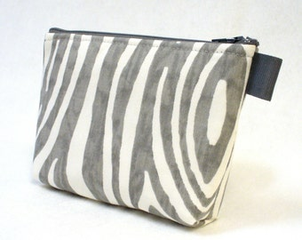 Treebark Willow Fabric Gadget Pouch Cosmetic Bag Zipper Pouch Makeup Bag Cotton Zip Pouch Gray White