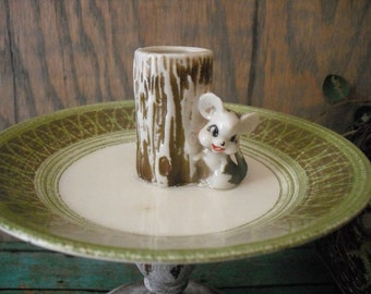 vintage upcycled ADORABLE rustic Mouse and Log Ring Jewelry holder Pedestal dish trinket dish