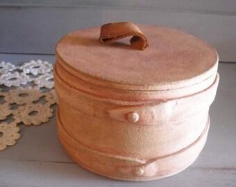 Vintage Firkin bucket style Crock ... handmade pottery ~ Leather strap Farm house cottage kitchen