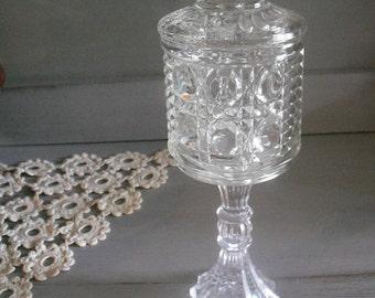 Vintage Upcycled Pedestal jar ~ cut glass ~ Wedding ~ Kitchen ~Bath ~ Cottage Chic decor Apothecary jar