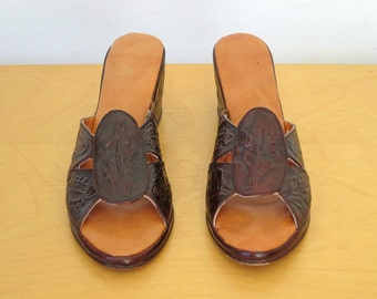 FRIDA // hand crafted tooled leather wedges from mexico size 8 / 9