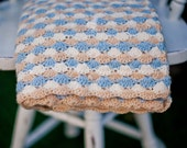 Hand Crocheted Lap Afghan - Beautiful shell patterned