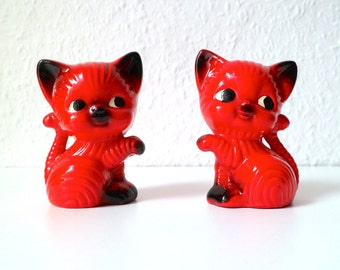 60s/70s red cat salt and pepper shakers