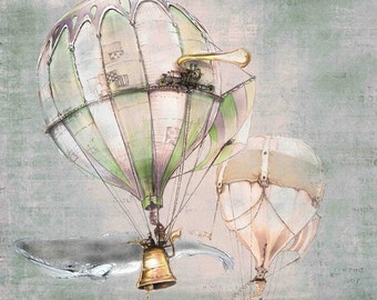 Steampunk Art PRINT - Hot Air Ballon WHALE - Nautical giclée Fantasy WALL Art Print  - Pink - Grey - Fairy Tale Art by the Filigree