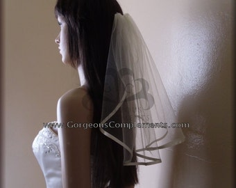Mini Fly Away Wedding Veil with Ribbon Edge, Bridal Veil