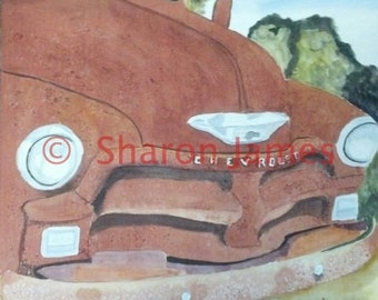 "Smile #1. 1954 Chevy pick up acrylic painting by Sharon James, 12""x12"""