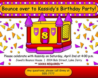 Bounce House DIY Party Invitation. Bounce House Invite. Kids Birthday Party Digitial Invitation. Bounce House Themed Printable Invitation