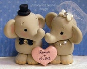Whimsical Elephant Wedding Cake Topper  Hand Sculpted Cute Elephants with Personalized Heart