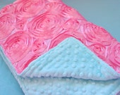 rosette baby bedding  baby girl bedding in Pink Rosettes and Aqua  minky blanket XL and fitted sheet only