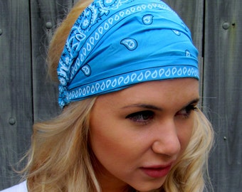 Yoga Wide Headband Stretchy Turban Headband Womens Cotton Headband Blue & White Classic Bandana Style Head Wrap Headband Workout Headband