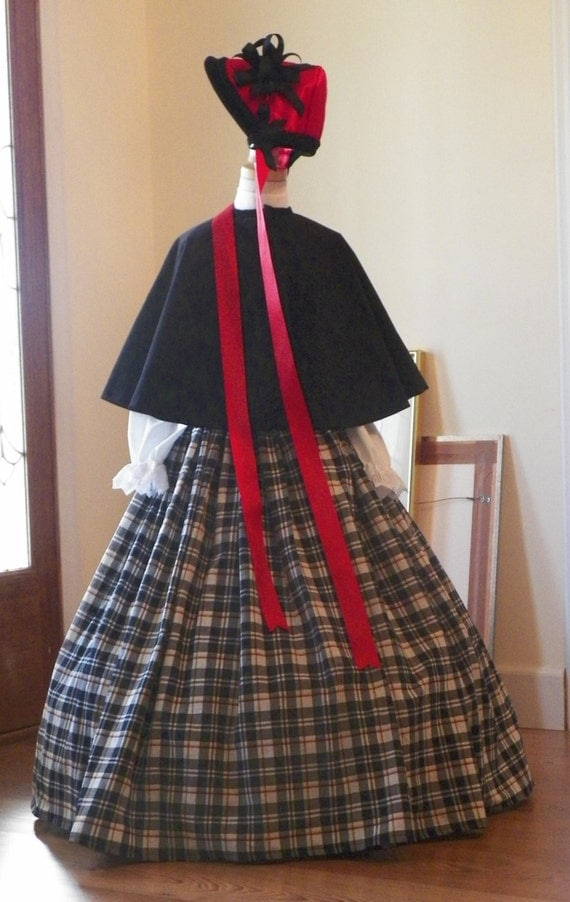 Reserved for Paige Girls  6-7 Victorian Dickens Christmas Carolers Holiday Parade Cape Skirt Blouse Bonnet Dress Costume Couture made to fit