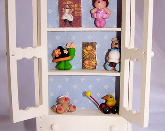 Dollhouse Furniture, Playroom Hutch, Toy Cabinet, Mixed Media, Children, Miniature Furniture, Miniature toys, Dollhouse, Free Shipping,