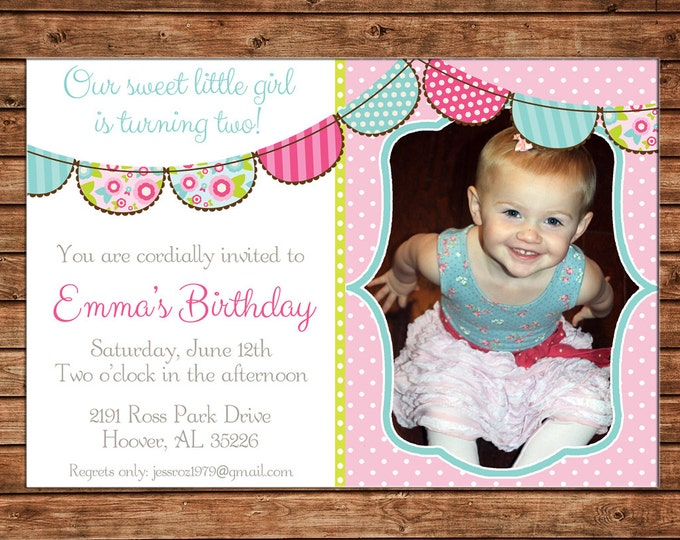 Girl Photo Invitation Floral Bunting Birthday Party - Can personalize colors /wording - Printable File or Printed Cards