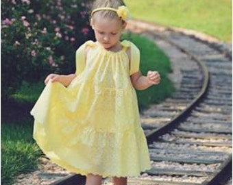 Summer Sundress SEW FLOUNCY Tier Pillowcase Dress Pattern PDF Eyelet Dress 4th of July Outfit - Easy Sewing Children Clothing