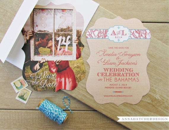 Ornate Die-Cut Destination Save the Dates or Wedding Invitations - FREE 2 Day Shipping - Any Color, Paper, Font, Monogram/Logo