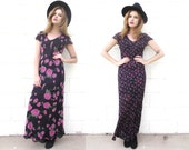 Vintage Reversable Chiffon Floral Maxi Dress