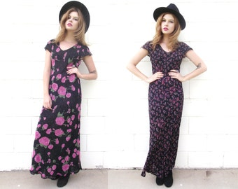 Vintage Reversable Chiffon Floral Maxi Dress