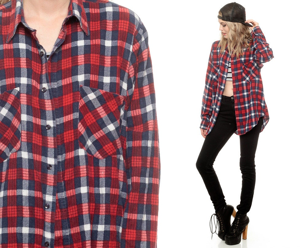 90s plaid shirt flannel navy blue red button up top grunge