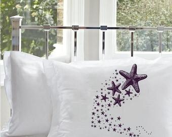 Two Shooting STARFISH sea stars pillow case Ocean purple lavendar plum  fish unique decor art black white retro sailor Nautical Pillowcase
